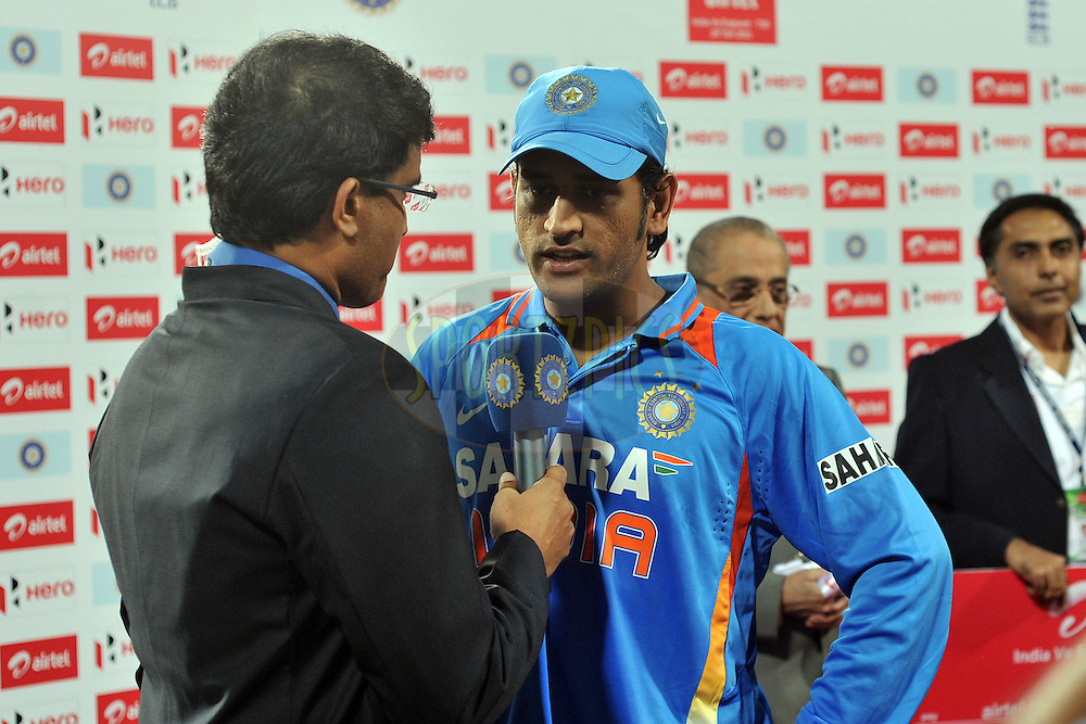Mahendra Singh Dhoni captain of India during the presentation after the T20 International match between India and England held at the Eden Gardens Stadium, Kolkata on the 29th October 2011..Photo by Pal Pillai/BCCI/SPORTZPICS