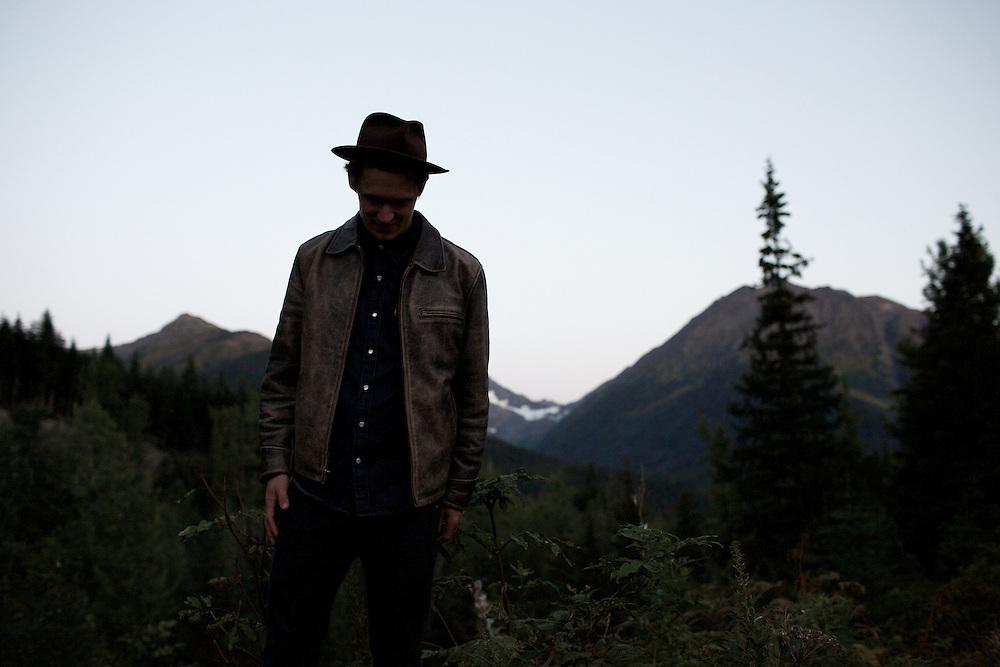 GIRDWOOD, ALASKA - 2014: Singer Songwriter Dylan Lee Johnston.