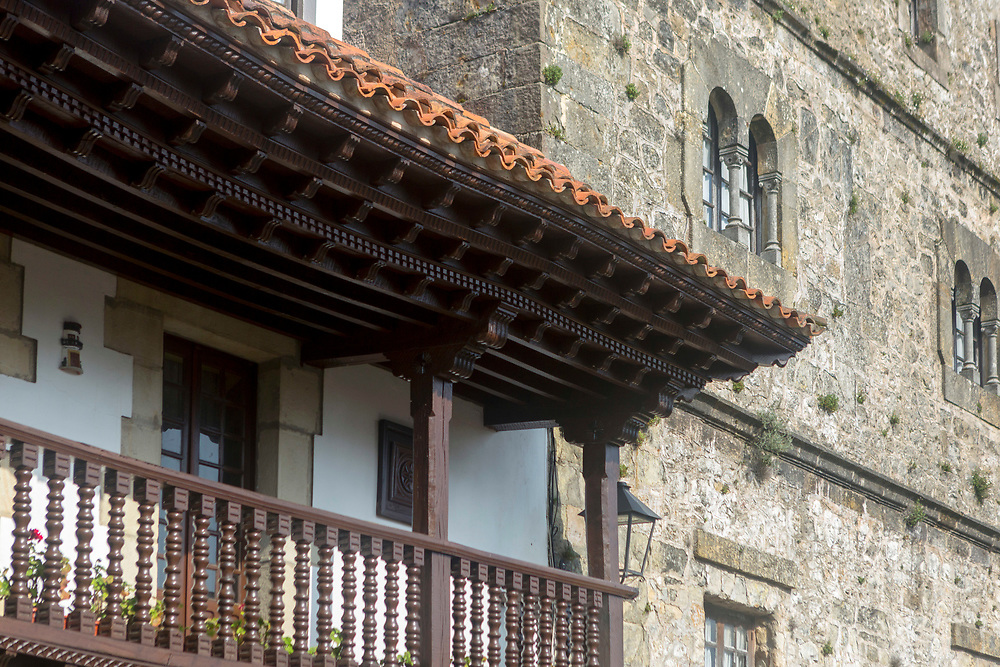 SANTILLANA DEL MAR, SPAIN - April 20 2018 - Architecture in town centre of Santillana del Mar, Cantabria, Spain.