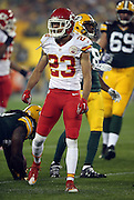 Kansas City Chiefs cornerback Phillip Gaines (23) celebrates after tackling Green Bay Packers running back Eddie Lacy (27) during the 2015 NFL week 3 regular season football game against the Green Bay Packers on Monday, Sept. 28, 2015 in Green Bay, Wis. The Packers won the game 38-28. (©Paul Anthony Spinelli)