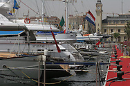 Luxury boats line up at the superyacht marina in Port America's Cup; Valencia, Spain.