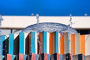 Israel, Tel Aviv, Dizengoff circle, Details of the colourful fountain by Yaacov Agam