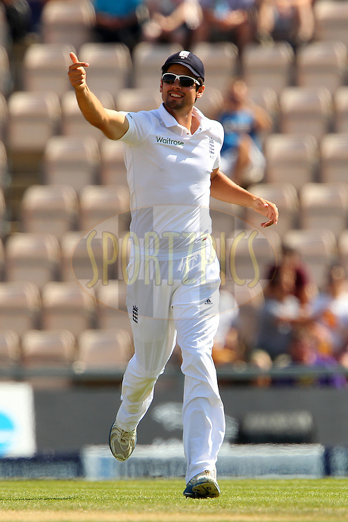 Alastair Cook captain of England gestures during day four of the third Investec Test Match between England and India held at The Ageas Bowl cricket ground in Southampton, England on the 30th July 2014<br /> <br /> Photo by Ron Gaunt / SPORTZPICS/ BCCI