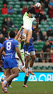 LONDON, ENGLAND - Sunday 11 May 2014, Justin Geduld of South Africa jumps high in the air during the Plate semi final match between South Africa and Samoa at the Marriott London Sevens rugby tournament being held at Twickenham Rugby Stadium in London as part of the HSBC Sevens World Series.<br /> Photo by Roger Sedres/ImageSA