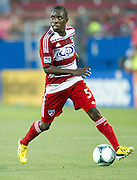 FRISCO, TX - JUNE 26:  Jair Benitez #5 of FC Dallas brings the ball up field against the Portland Timbers on June 26, 2013 at FC Dallas Stadium in Frisco, Texas.  (Photo by Cooper Neill/Getty Images) *** Local Caption *** Jair Benitez