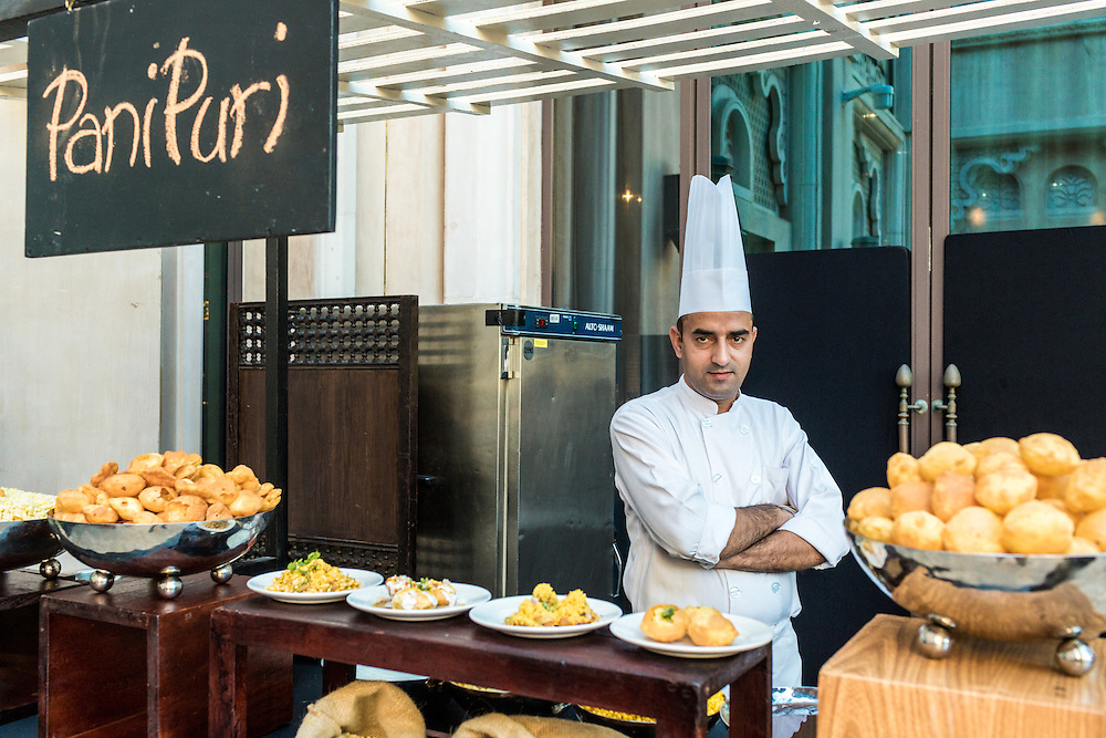 DUBAI, UAE - DECEMBER 18, 2015: Indian street food station at the Arboretum restaurant, located in Jumeirah Al Qasr, Madinat Jumeirah Resort.