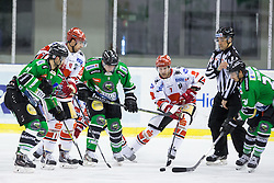 04.01.2015, Hala Tivoli, Ljubljana, SLO, EBEL, HDD Telemach Olimpija vs HC TWK Innsbruck, 35. Runde, in picture Hunter Bishop (HDD Telemach Olimpija, #9) vs Dustin VanBallegooie (HC TWK Innsbruck, #7) during the Erste Bank Icehockey League 35. Round between HDD Telemach Olimpija and HC TWK Innsbruck at the Hala Tivoli, Ljubljana, Slovenia on 2015/01/04. Photo by Matic Klansek Velej / Sportida