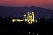 France. Lyon . On the summit of Fourviere hill, the basilica at  night       au sommet de  la colline de Fourvière la basilique . la nuit      R00063 4    L930812b     P0000191