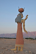 Israel, Aravah, Egyptian style statue at Timna natural and historic park,