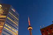 Toronto CN Tower with Citi Building at Sunset