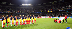Team os the USA during the National anthem  during the Semi Final soccer match of the 2009 Confederations Cup between Spain and the USA played at the Freestate Stadium,Bloemfontein,South Africa on 24 June 2009.  Photo: Gerhard Steenkamp/Superimage Media.