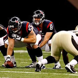 August 21, 2010; New Orleans, LA, USA; Houston Texans quarterback Matt Schaub (8) under center during the first quarter of a preseason game against the New Orleans Saints at the Louisiana Superdome. Mandatory Credit: Derick E. Hingle