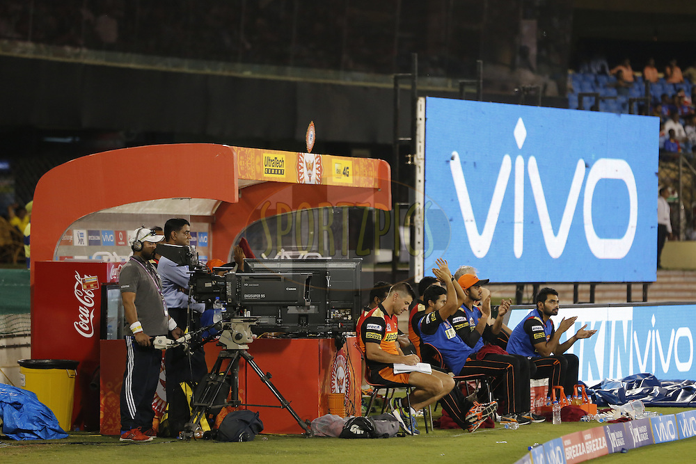 Sunrisers Hyderabad players in dung out during match 52 of the Vivo Indian Premier League ( IPL ) between the Delhi Daredevils and the the Sunrisers Hyderabad held at the Shaheed Veer Narayan Singh International Cricket Stadium, Naya Raipur, India on the 20th May 2016<br /> <br /> Photo by Arjun Singh / IPL/ SPORTZPICS