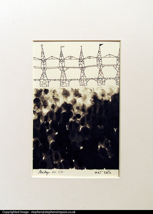 © Licensed to London News Pictures. 11/11/2011. London, UK. Nat Tate's (1928 - 1960) Bridge no 114. First work to be offered for sale by fictional painter Nat Tate. Estimated to fetch 3,000 - 5.000 GBP. Nat Tate is a fictional artist created by bestselling British Author William Boyd and was part of a celebrated hoax in 1998.   Sotheby's preview of Modern and Post-War British Art which will offered for sale at auction on 15th November 2011. Photo credit : Stephen Simpson/LNP