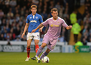 Simon Cox and Adam Webster during the Capital One Cup match between Portsmouth and Reading at Fratton Park, Portsmouth, England on 25 August 2015. Photo by Adam Rivers.