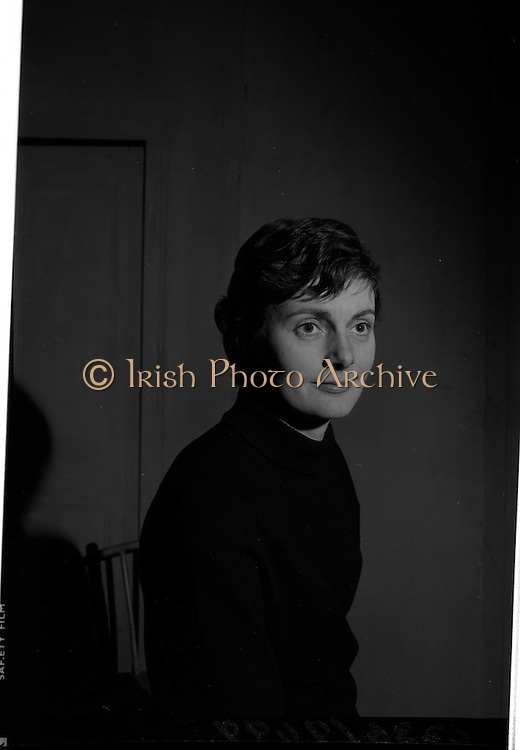 "04/03/1964<br /> 03/04/1964<br /> 04 March 1964<br /> Rehearsal of ""La Fheile Mhicil"" at Damer Hall Theatre, Dublin for Gael Linn. ""La Fheile Mhicil"" Eoghan O Tuairisc's Oireachtas prize-winning play was to be staged from 11th March. Image shows Brid Seoighe, who played the role of a Reverend Mother in the play."
