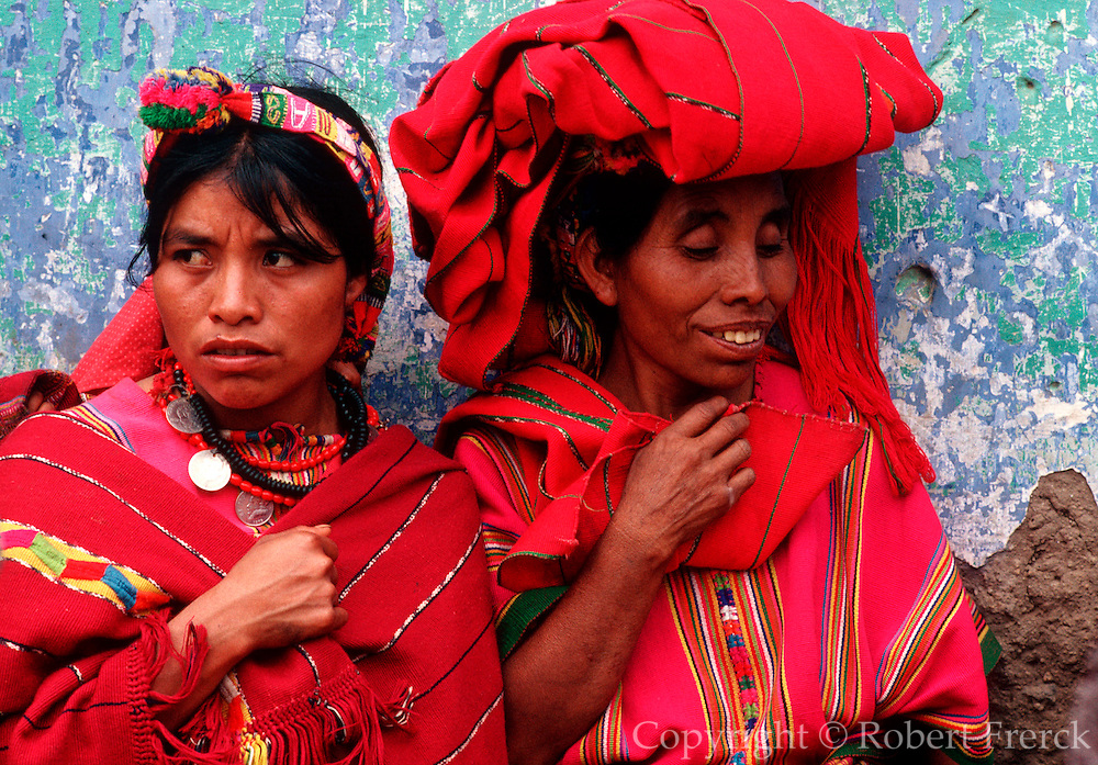 GUATEMALA, FESTIVALS Semana Santa (Easter Week) observers of religious procession in Maya Indian village of Zunil