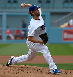 June 7, 2017 - Los Angeles, California, U.S. - Los Angeles Dodgers starting pitcher Clayton Kershaw throws to the plate against the Washington Nationals in the second inning of a Major League baseball game at Dodger Stadium on Wednesday, June 7, 2017 in Los Angeles. (Photo by Keith Birmingham, Pasadena Star-News/SCNG) (Credit Image: © San Gabriel Valley Tribune via ZUMA Wire)