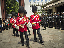 October 14, 2016 - Bangkok, Bangkok, Thailand - A Thai Army Honor Guard marches into the Grand Palace on the first day of mourning Bhumibol Adulyadej, the King of Thailand, who died Oct. 13, 2016. He was 88. His death comes after a period of failing health. With the king's death, the world's longest-reigning monarch is Queen Elizabeth II, who ascended to the British throne in 1952. Bhumibol Adulyadej, was born in Cambridge, MA, on 5 December 1927. He was the ninth monarch of Thailand from the Chakri Dynasty and is known as Rama IX. He became King on June 9, 1946 and served as King of Thailand for 70 years, 126 days. He was, at the time of his death, the world's longest-serving head of state and the longest-reigning monarch in Thai history. (Credit Image: © Jack Kurtz via ZUMA Wire)