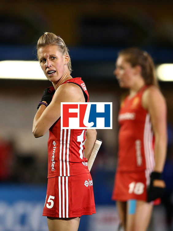 JOHANNESBURG, SOUTH AFRICA - JULY 14:  Alex Danson of England looks on during day 4 of the FIH Hockey World League Women's Semi Finals Pool A match between Germany and England at Wits University on July 14, 2017 in Johannesburg, South Africa.  (Photo by Jan Kruger/Getty Images for FIH)