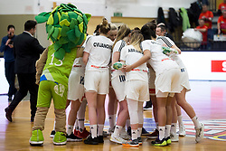 Players of Slovenia during basketball match between National teams of Slovenia and Romania in 4. round of FIBA Women's EuroBasket 2019 Qualifiers, on February 14, 2018 in Dvorana Gimnazija Celje - Center, Slovenia. Photo by Urban Urbanc / Sportida