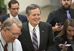 October 5, 2018 - Washington, District of Columbia, U.S. - United States Senator Steve Daines (Republican of Montana) is surrounded by reporters in the US Senate Subway in the US Capitol on Friday, October 5, 2018. .Credit: Ron Sachs / CNP.(RESTRICTION: NO New York or New Jersey Newspapers or newspapers within a 75 mile radius of New York City) (Credit Image: © Ron Sachs/CNP via ZUMA Wire)