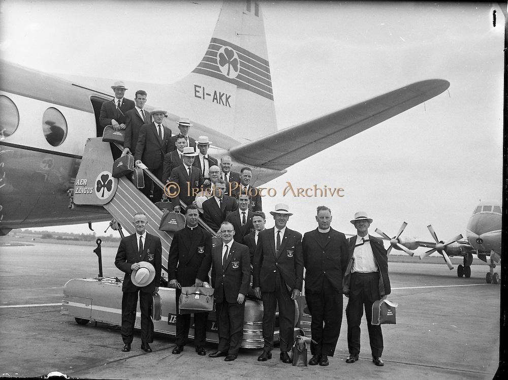 Irish Olympic Boxers leave for Rome..20.08.1960 Belfast boxers Bernard Meli & Adam McClean Bord Air Lingus Viscount for Rome