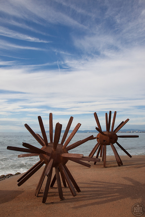 """Sea Urchin Sculptures"" - These sea urchin sculptures were photographed at the malecon in Puerto Vallarta, Mexico."