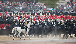 © Licensed to London News Pictures. 28/05/2016. London, UK. Members of The Band of the Irish Guards take part in The Major's General's Review on The Mall. Hundreds of troops are taking part in the first of two rehearsals for the Trooping the Colour ceremony, the Queen's annual birthday parade. Photo credit: Peter Macdiarmid/LNP