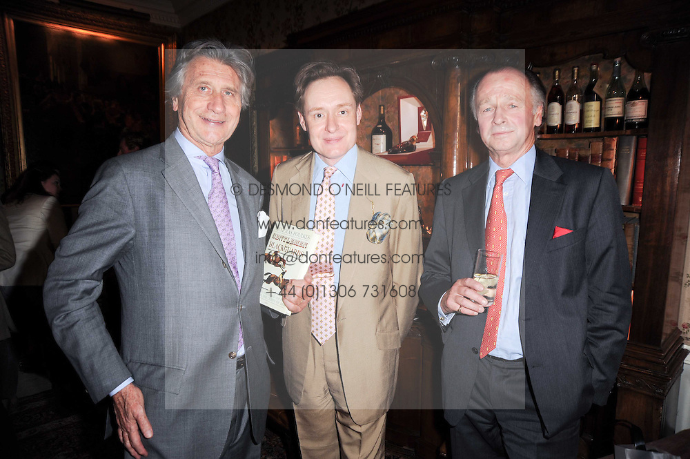 Left to right, ARNAUD BAMBERGER, NICK FOULKES and SIMON PARKER BOWLES  at a party to celebrate the publication of Gentlemen & Blackguards by Nicholas Foulkes at Mark's Club, 46 Charles Street, London W1 on 24th May 2010.