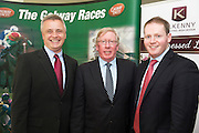 At the launch of The Galway Races summer festival 2015 was Paul Balfe Topaz, John Moloney  Galway Race Course Manager and incoming race course manager Michael Moloney . The launch was held at the Radisson blu Galway  .Photo:Andrew Downes:XPOSURE