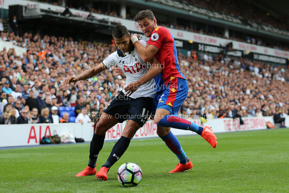 Erik Lamela of Tottenham Hotspur blocks the ball from Joel Ward of Crystal Palace. Premier league match, Tottenham Hotspur v Crystal Palace at White Hart Lane in London on Saturday 20th August 2016.<br /> pic by John Patrick Fletcher, Andrew Orchard sports photography.
