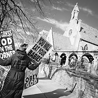 Rachel Hockenbarger, protesting in front of St. Mark's Episcopal Church in Salt Lake City.  She is a member of the Westboro Baptist Church and daughter of Pastor Fred Phelps. She works on legal/logistical details for WBC.  Dan Morris/Sipa Press