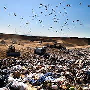 Trash piles up at the Miramar Landfill in San Diego, California, U.S. on Monday, August 13, 2012.