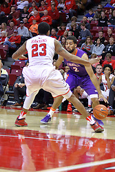 29 December 2016:  Christian Benzon tries using the baseline in an attempt to get past Deontae Hawkins(23) during an NCAA  MVC (Missouri Valley conference) mens basketball game between the Evansville Purple Aces the Illinois State Redbirds in  Redbird Arena, Normal IL