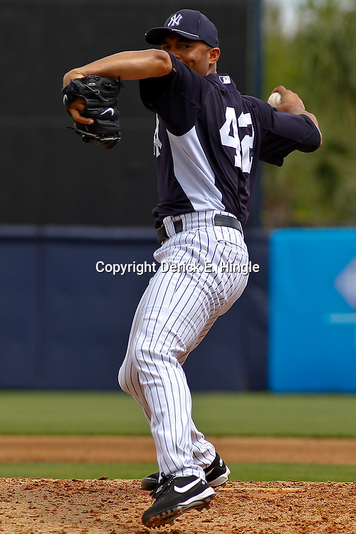 March 11, 2012; Tampa Bay, FL, USA; New York Yankees relief pitcher Mariano Rivera (42) against the Philadelphia Phillies during a spring training game at George M. Steinbrenner Field. Mandatory Credit: Derick E. Hingle-US PRESSWIRE