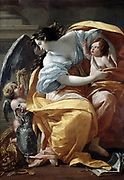 La Richesse' c1640. Oil on canvas.  Allegorical painting by Simon Vouet (1590-1649) French Baroque painter. Winged figure with two putti, one of them offering her pearls, silver and gold. Wealth Riches