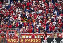 August 5, 2018 - Harrison, New Jersey, United States - New York Red Bulls fans celebrate goal by Daniel Royer (not pictured) during regular MLS game against LAFC at Red Bull Arena Red Bulls won 2 - 1 (Credit Image: © Lev Radin/Pacific Press via ZUMA Wire)