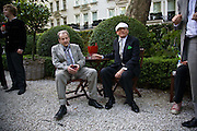 LUCIAN FREUD AND DAVID HOCKNEY, Tatler Summer Party. The Hempel. Craven Hill Gdns. London. 25 June 2008 *** Local Caption *** -DO NOT ARCHIVE-© Copyright Photograph by Dafydd Jones. 248 Clapham Rd. London SW9 0PZ. Tel 0207 820 0771. www.dafjones.com.