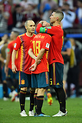 Andres Iniesta, Jordi Alba and Sergio Ramos dejected after being eliminated of the 2018 FIFA World Cup by the Russia in Moscow, Russia on July 1st, 2018. Photo by Lionel Hahn/ABACAPRESS.COM