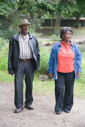 Older couple walking in the park together,