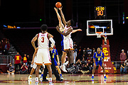 Tip off between the Southern California Trojans and the South Dakota State Jackrabbits for an NCAA basketball game, Tuesday, Nov. 12, 2019, in Los Angeles. USC defeated South Dakota State 84-66. (Brandon Sloter/Image of Sport)
