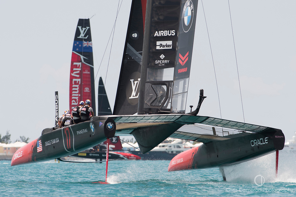 The Great Sound, Bermuda, 17th June Oracle Team USA chase Emirates Team New Zealand increase . Race one on day one of the America's Cup.