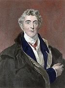 Arthur Wellesley 1st Duke of Wellington (1769-1852) British soldier and statesman. Defeated Napoleon at Waterloo. Hand-coloured engraving after portrait by Thomas Lawrence.