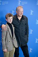 Actors Jon Ranes and Stellan Skarsgård at the photocall for the film Out Stealing Horses (Ut Og Stjæle Hester) at the 69th Berlinale International Film Festival, on Saturday 9th February 2019, Hotel Grand Hyatt, Berlin, Germany.