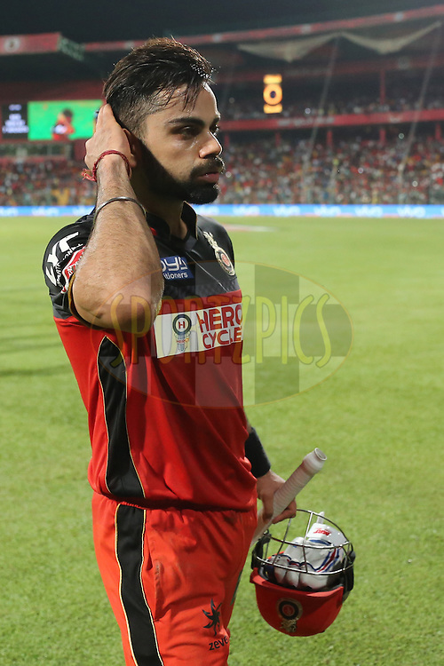 Royal Challengers Bangalore skipper Virat Kohli  during match 35 of the Vivo IPL ( Indian Premier League ) 2016 between the Royal Challengers Bangalore and the Rising Pune Supergiants held at The M. Chinnaswamy Stadium in Bangalore, India,  on the 7th May 2016<br /> <br /> Photo by Faheem Hussain / IPL/ SPORTZPICS