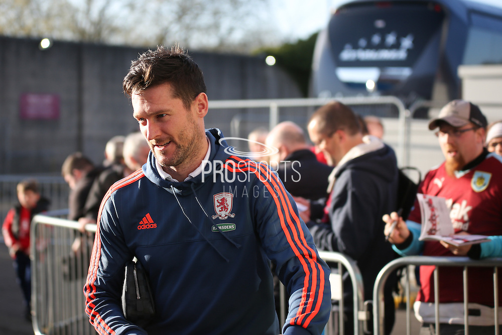 David Nugent of Middlesbrough arriving before the Sky Bet Championship match between Burnley and Middlesbrough at Turf Moor, Burnley, England on 19 April 2016. Photo by Simon Brady.