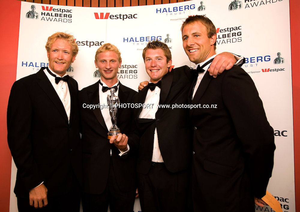 Sports team of the year winners the Men's coxless rowing four, Eric Murray, Hamish Bond, James Dallinger, Carl Meyer with the trophy. The The Westpac Halberg Awards, James Hay Theatre, Christchurch on Tuesday 19 February 2008. Photo: Joseph Johnson/PHOTOSPORT