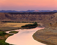 Afterglow over Upper Missouri River Breaks National Monument, Montana USA