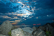 Lake Erie Sunrise Over the Rocks